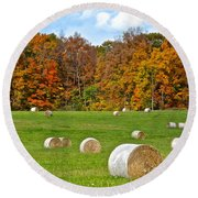 Farm Fresh Hay Round Beach Towel