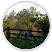 Farm Gate In Morning Light Round Beach Towel
