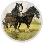 Farm Horses Round Beach Towel