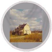 Farm House And Landscape Round Beach Towel