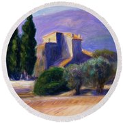 Farm House In Provence Round Beach Towel