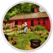 Farm - Laundry - Old School Laundry Round Beach Towel by Mike Savad