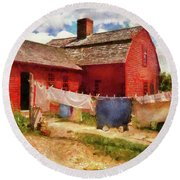 Farm - Laundry - The Clothes Line Round Beach Towel