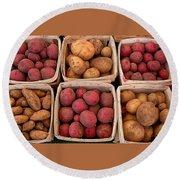 Farm Potatoes Round Beach Towel