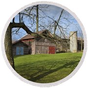 Farm Scene With Barns And Silo Round Beach Towel