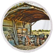 Farm Shed Digital Watercolor Round Beach Towel