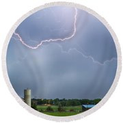 Farm Storm Hdr Round Beach Towel