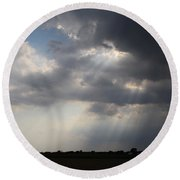 Farm Sunbeams Round Beach Towel