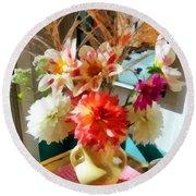 Farm Table Bouquet Round Beach Towel