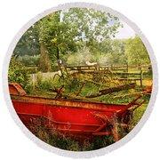Farm - Tool - A Rusty Old Wagon Round Beach Towel by Mike Savad