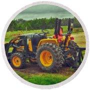 Farm Tractor Round Beach Towel