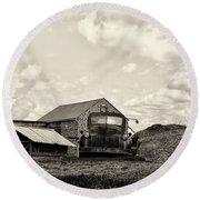 Farm Truck - 1941 Chevy In Sepia Round Beach Towel