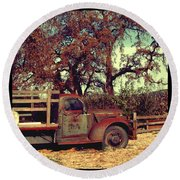 Farm Truck Round Beach Towel
