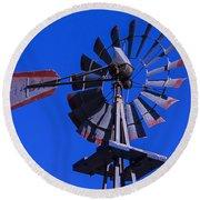 Farm Windmill Round Beach Towel