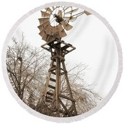 Farm Windmill In Sepia Round Beach Towel
