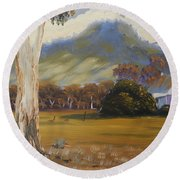 Farm With Large Gum Tree Round Beach Towel