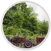 Farmall Tractors All In A Row Round Beach Towel