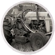 Farmer And His Tractor Round Beach Towel