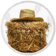 Farmer Hat On Hay Bale Round Beach Towel