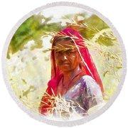 Farmers Fields Harvest India Rajasthan 8 Round Beach Towel