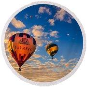 Farmer's Insurance Hot Air Ballon Round Beach Towel by Robert Bales