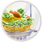 Farmers Market V Summers Harvest In The Window Round Beach Towel