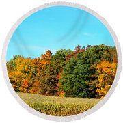 Farmfield Fall Round Beach Towel