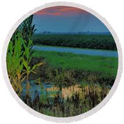 Farm Sunset Round Beach Towel