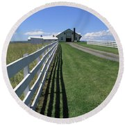 Farmhouse And Fence Round Beach Towel by Frank Romeo