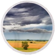 Farmhouse In The Storm Panorama Round Beach Towel