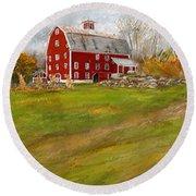 Red Barn Art- Farmhouse Inn At Robinson Farm Round Beach Towel