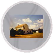 Farmhouse Landscape Round Beach Towel