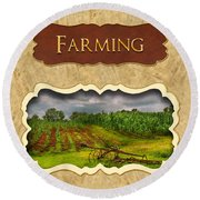 Farming And Country Life Button Round Beach Towel