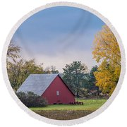 Farmstead With Fall Colors Round Beach Towel by Paul Freidlund