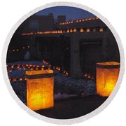 Farolitos Or Luminaria On Wall Round Beach Towel