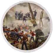 Farragut On The Hartford At Mobile Bay Round Beach Towel