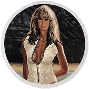 Farrah Fawcett Painting Round Beach Towel