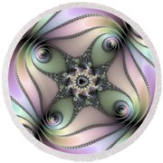 Fascinating Fractal Spirals Beautiful Metallic Colors Round Beach Towel