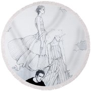 Fashion On A Hill Round Beach Towel by Sarah Parks