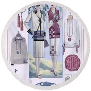 Fashion Plate, From La Femme Chic Round Beach Towel