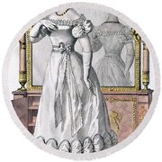 Fashion Plate Of A Lady In Evening Round Beach Towel