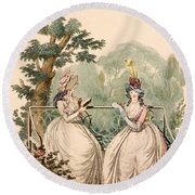 Fashion Plate Of Ladies In Summer Day Round Beach Towel