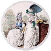 Fashion Plate Of Ladies Morning Dress Round Beach Towel