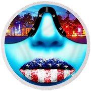 Fashionista Miami Blue Round Beach Towel