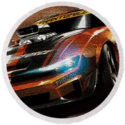 Fast Car Painting Round Beach Towel