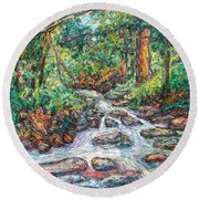 Fast Water Wildwood Park Round Beach Towel by Kendall Kessler