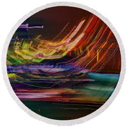 Faster Than The Speed Of Light Round Beach Towel