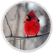 Fat Cardinal In The Snow Round Beach Towel
