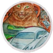 Fat Cat And The Bentley Round Beach Towel
