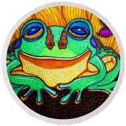 Fat Green Frog On A Sunflower Round Beach Towel